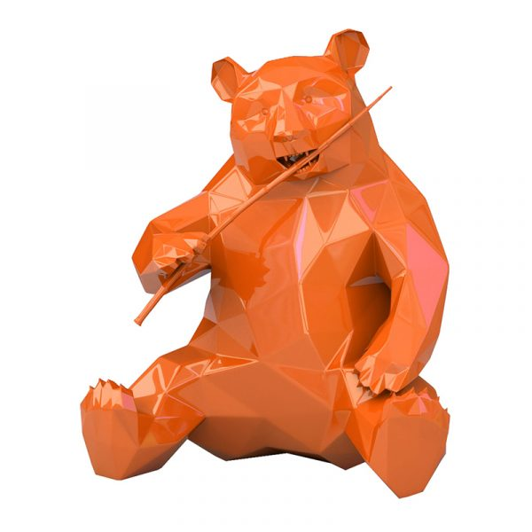 Resin Panda Sculpture Richard Orlinski Orange