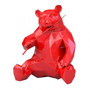 Panda-Skulptur aus Harz Richard Orlinski Rot