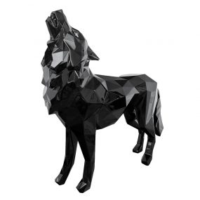 1H908001 Geometric Wolf Sculpture Custom Factory Black