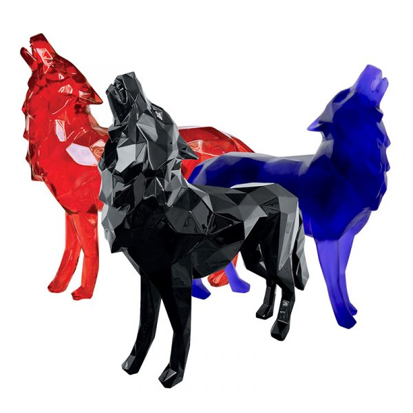 1H908001 Geometric Wolf Sculpture Custom Factory Resin