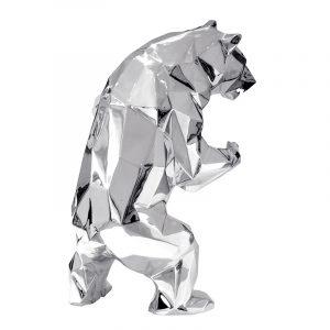 1H911002 Escultura de Urso Art Deco Studio Metal
