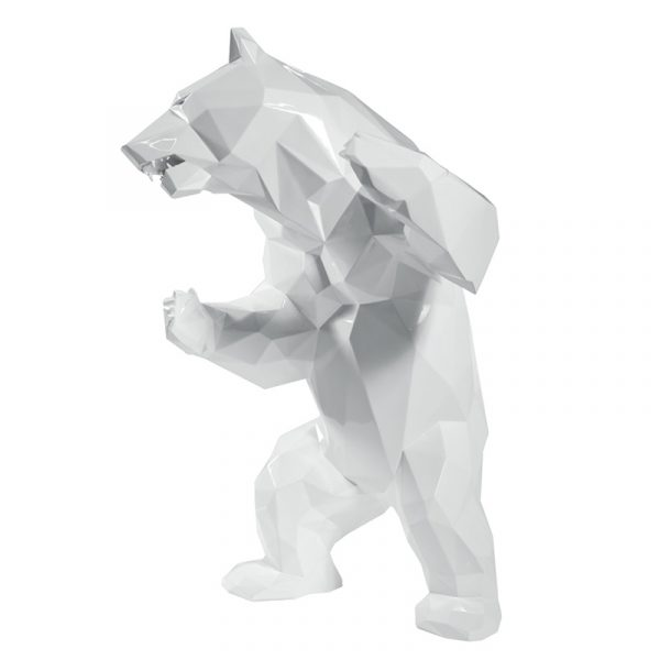 1H911002 Bear Sculpture Art Deco Studio White