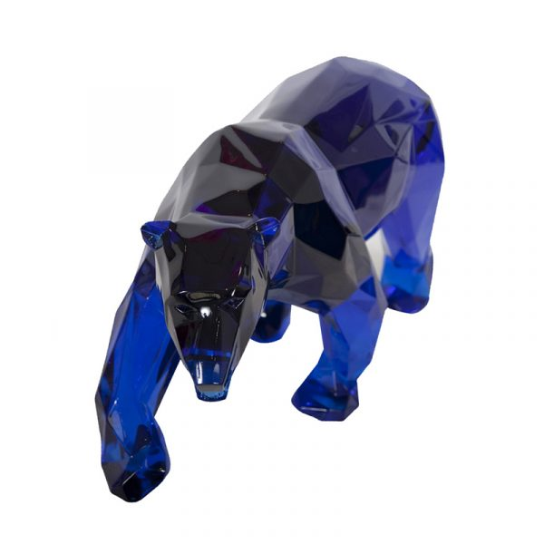 1H911003 Art Deco Polar Bear Sculpture Workshop Blue