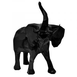 Abstrakte Elefantenskulptur aus schwarzem Harz