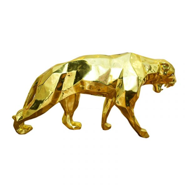 Leopard Sculpture Plated Chrome Golden