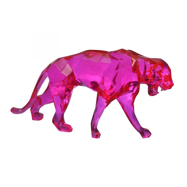 Leopard Sculpture Resin Pink