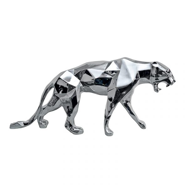 Leopard Sculpture Resin Silver