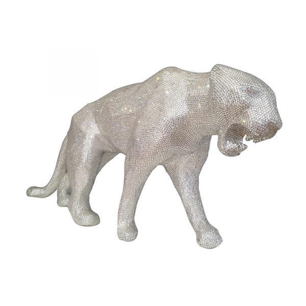 Leopard Sculpture Stainless Steel Diamond