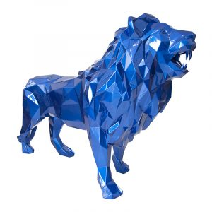 Lion Sculpture For Sale Blue Plated Chrome