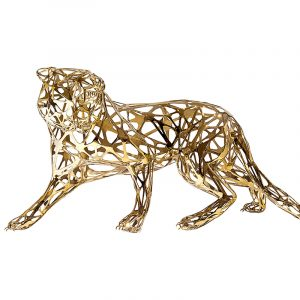 Stainless Steel Metal Tiger Sculpture Golden