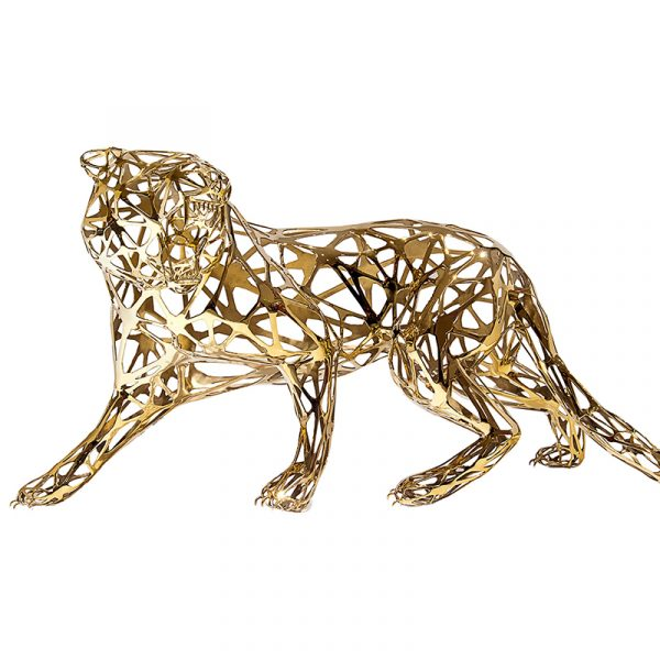 Stainless Steel Metal Tiger Sculpture Golden