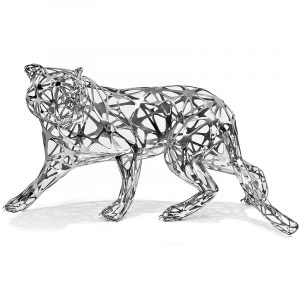 Stainless Steel Metal Tiger Sculpture Silver