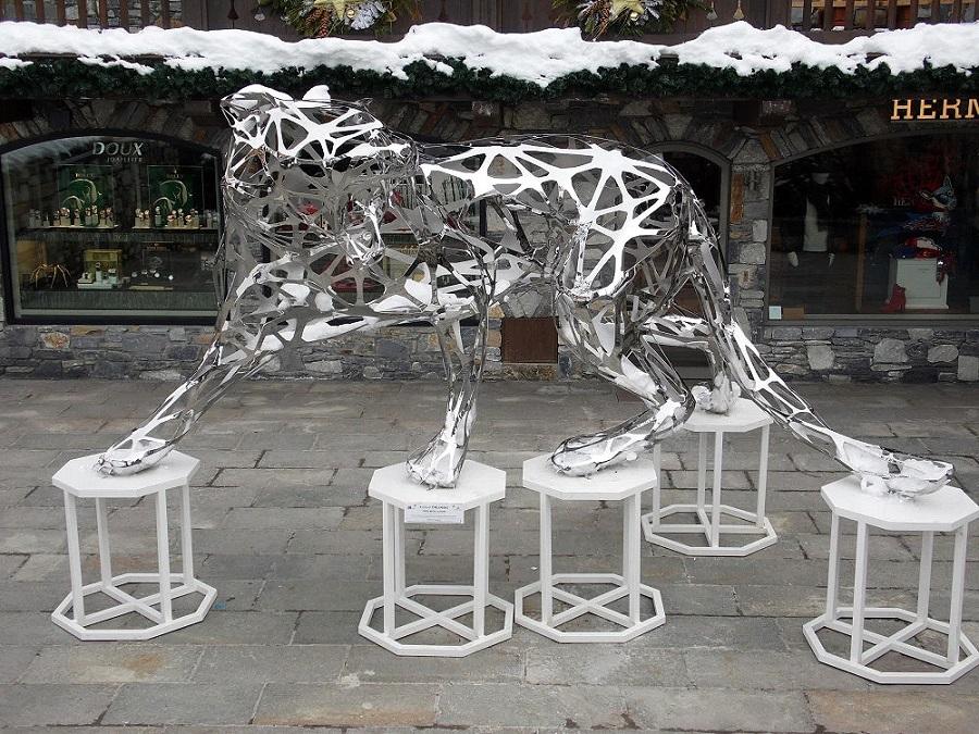 Stainless Steel Metal Tiger Sculpture