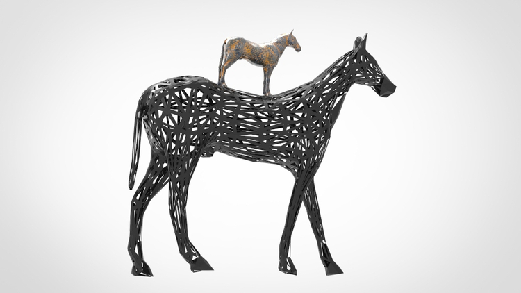 Black Horse Sculpture Modern Art Deco (1)