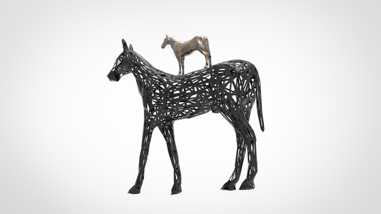 Black Horse Sculpture Modern Art Deco (3)