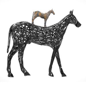 Black Horse Sculpture Modern Art Deco (7)