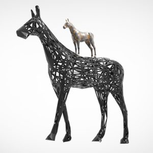 Black Horse Sculpture Modern Art Deco (8)