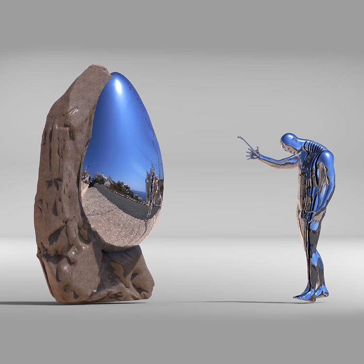 1I709039 Sculpture En Acier Inoxydable Contemporaine (1)