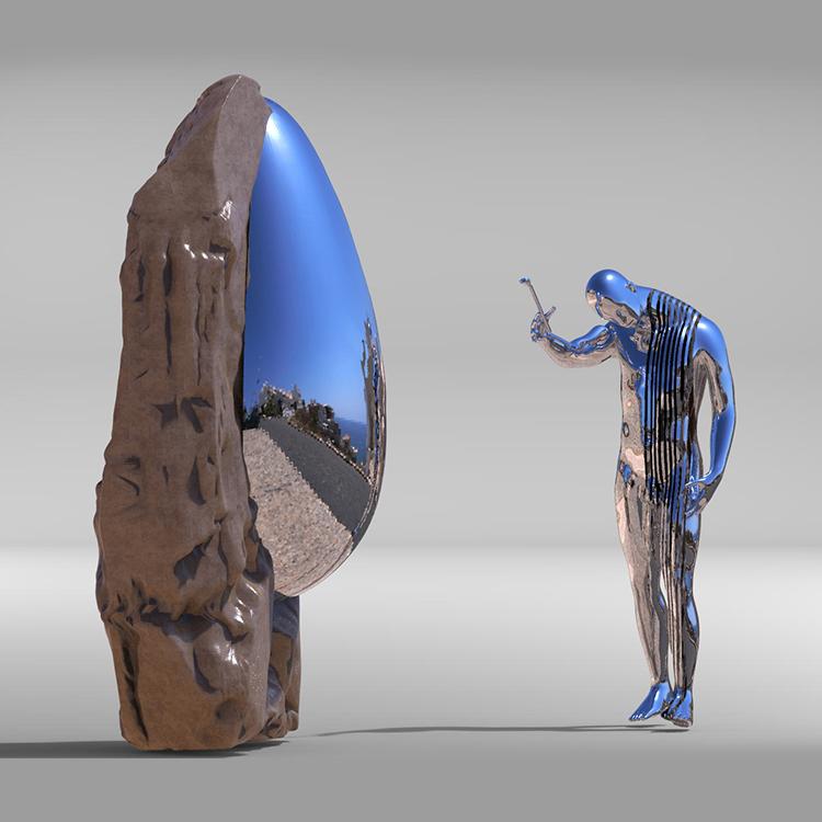 1I709039 Sculpture En Acier Inoxydable Contemporaine (2)