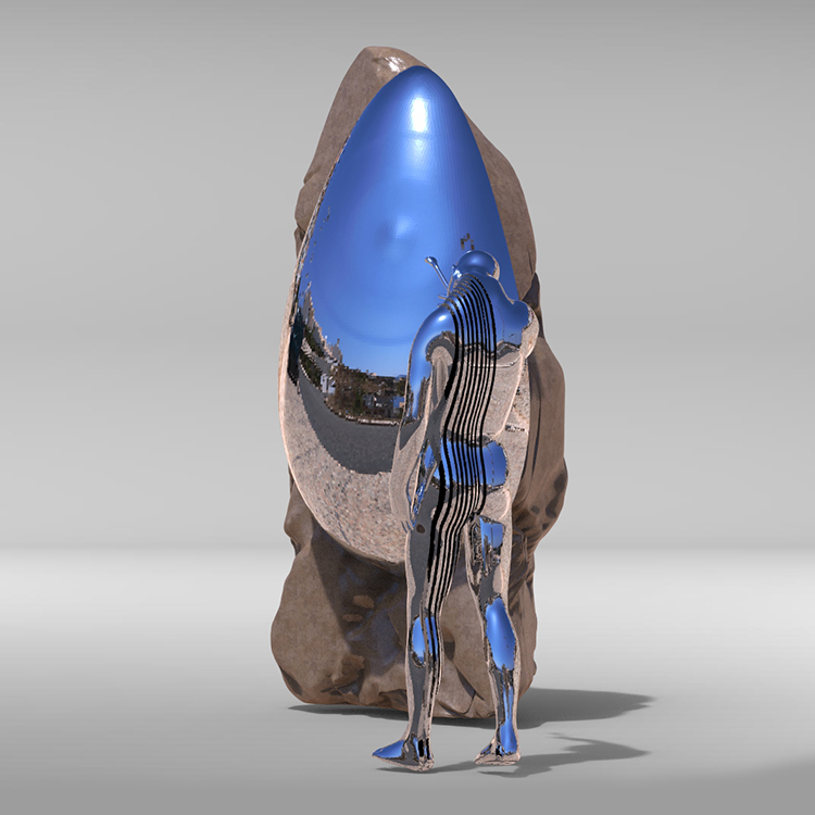 1I709039 Sculpture En Acier Inoxydable Contemporaine (3)