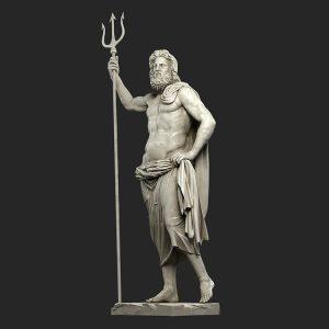 1I711009 Poseidon Statues White Marble Stone (1)