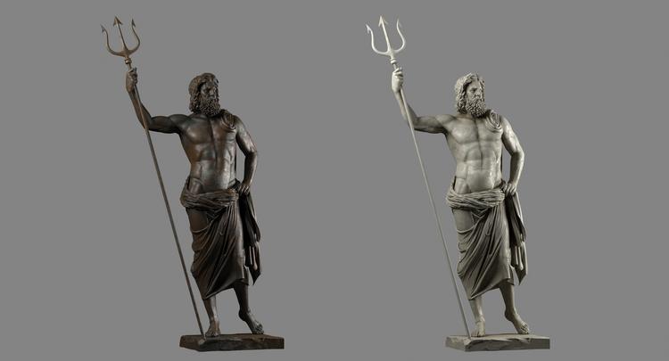 1I711009 Poseidon Statues White Marble Stone (2)
