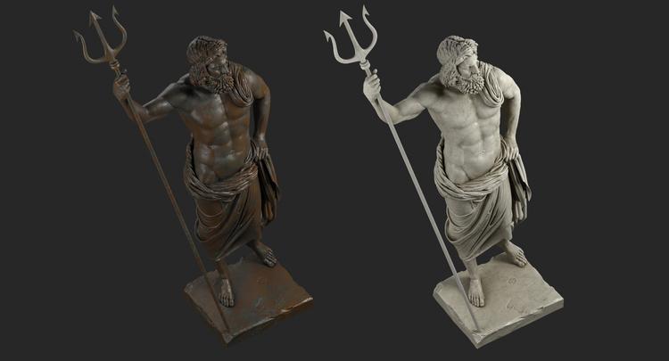 1I711009 Poseidon Statues White Marble Stone (3)