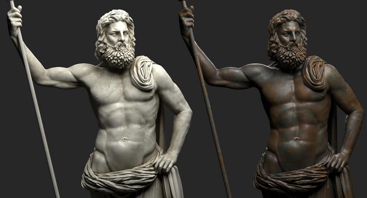 1I711009 Poseidon Statues White Marble Stone (4)