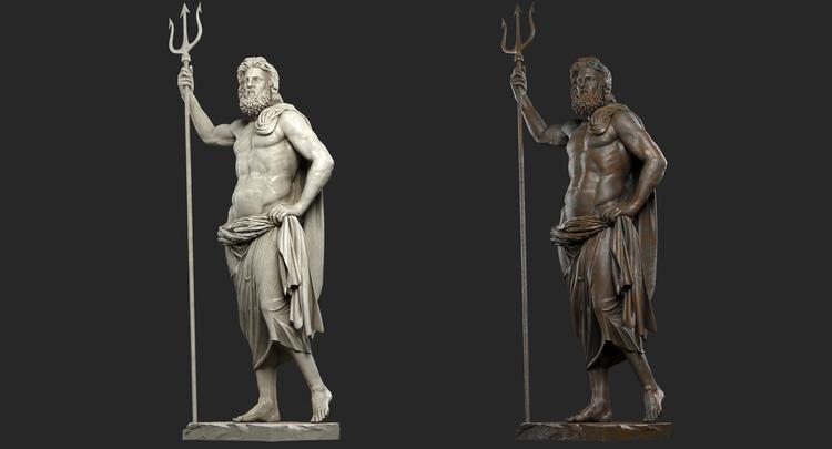 1I711009 Poseidon Statues White Marble Stone (5)