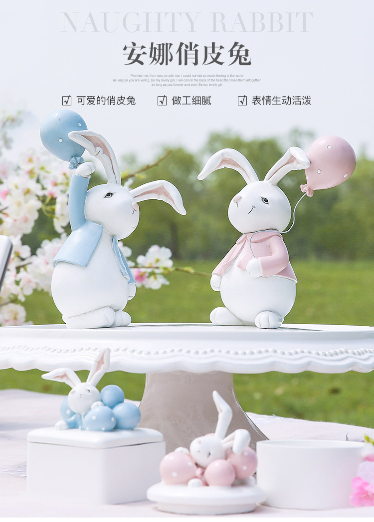1I820001 Detail Resin Easter Bunny Figurines Plastic (1)