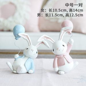 1I820001 Resin Easter Bunny Figurines Plastic (1)