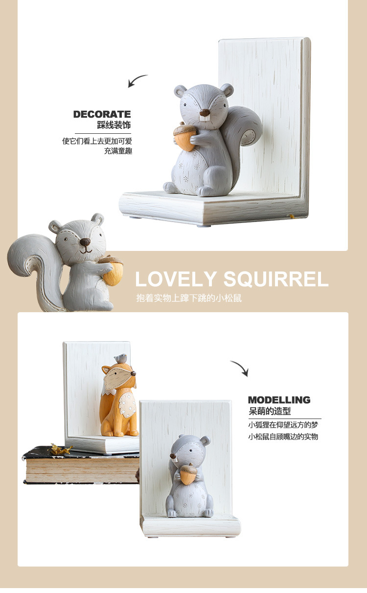1I820003 Fox Bookend Squirrel Bookend (10)