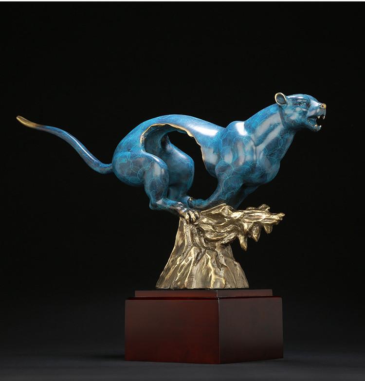 1I904060 Feng Shui Leopard Statue Brass (17)