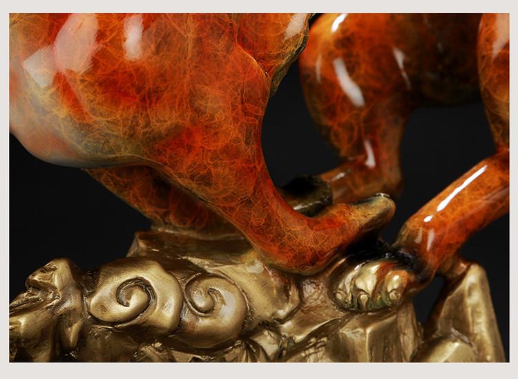 1I904060 Feng Shui Leopard Statue Brass (23)