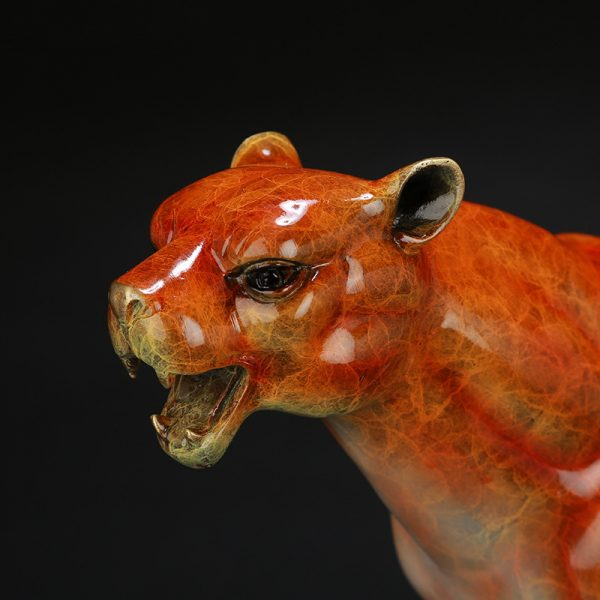 1I904060 Feng Shui Leopard Statue Brass (3)