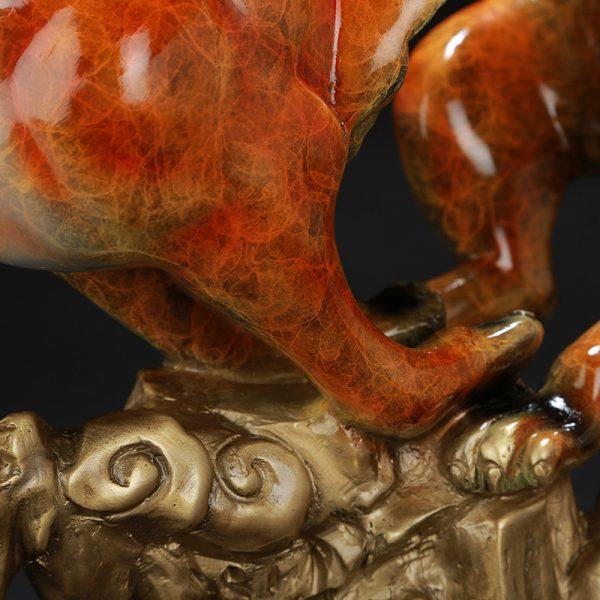 1I904060 Feng Shui Leopard Statue Brass (5)