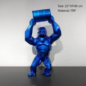 04 Fiberglass Gorilla Statues Gorille Bleu