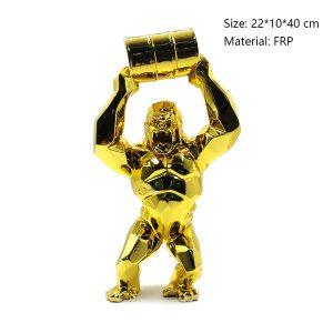 07 Gold Gorilla Statue