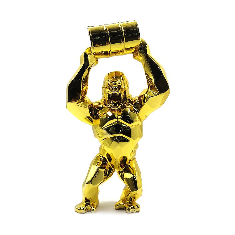 Gold Gorilla Statue Beeld (2)