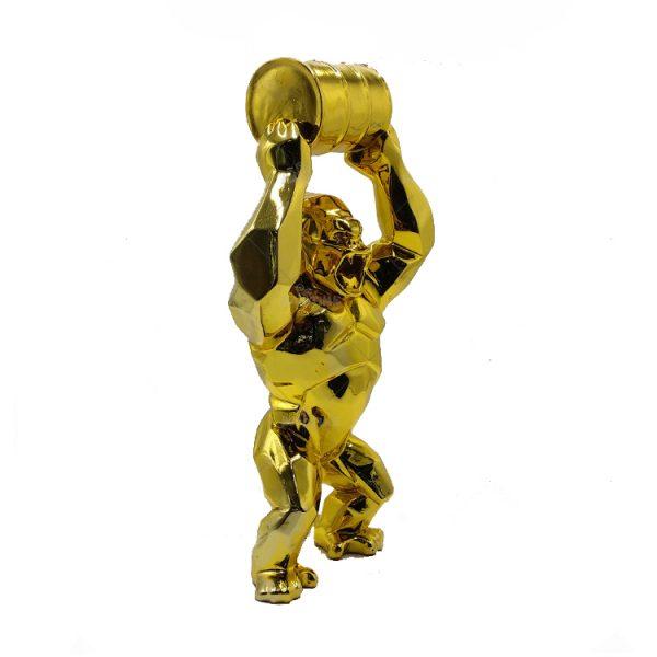 Gold Gorilla Statue Beeld (4)