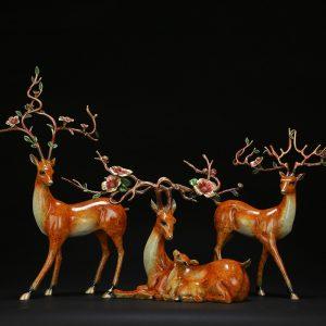 Feng Shui Deer Statue Brass (2)