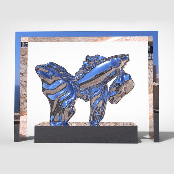 1I709073 Goldfish Statue Fiberglass Chrome Plated (1)