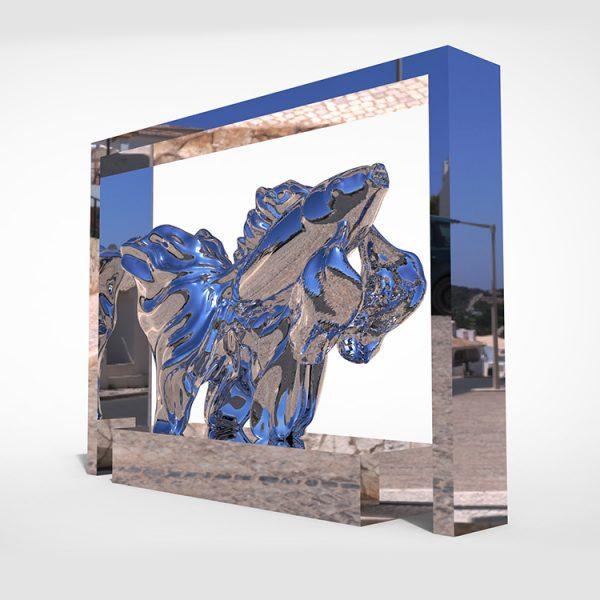 1I709073 Goldfish Statue Fiberglass Chrome Plated (2)