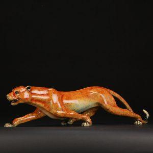 1J602003 Brass Leopard Statue Feng Shui (2)