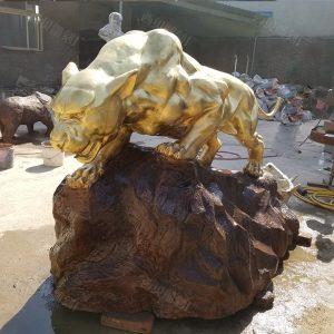 1J602003 Cougar Sculpture Brass China Factory (2)