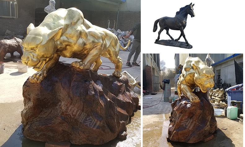 1J602003 Cougar Sculpture Brass China Factory (4)