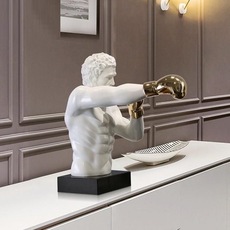 1J807001 Boxer Statue White Resin Sale (3)