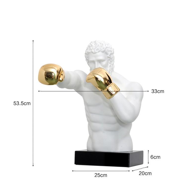1J807001 Boxer Statue White Resin Sale (4)