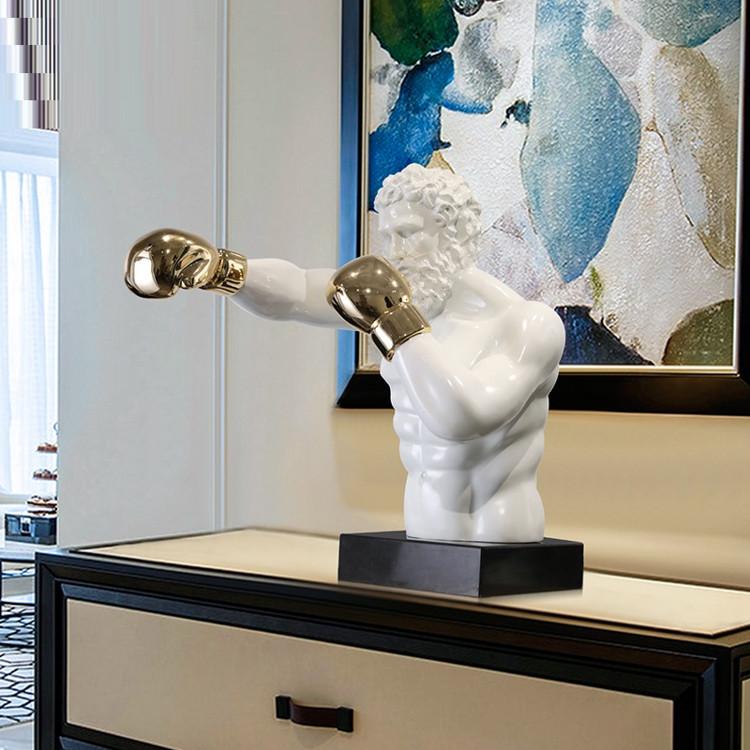 1J807001 Boxer Statue White Resin Sale (5)
