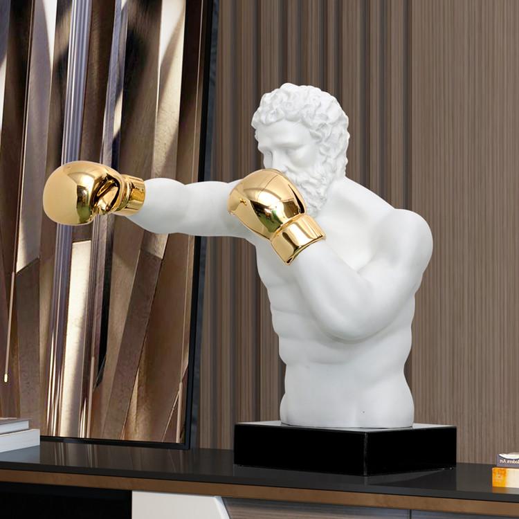 1J807001 Boxer Statue White Resin Sale (7)